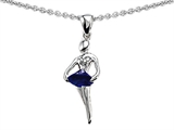 Original Star K Ballerina Dancer Pendant with Round 7mm Created Sapphire