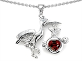 Star K™ Baby Stork Mother Pendant Necklace with Genuine Heart Shape Garnet style: 304256