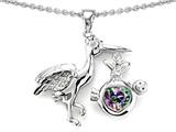 Original Star K™ Baby Stork Mother Pendant with Heart Shape Mystic Rainbow Topaz style: 304257