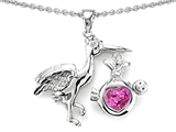 Original Star K New Baby Stork Mother Pendant with Heart Shape Created Pink Sapphire