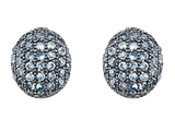 Original Star K Oval Puffed Earrings with Simulated Aquamarine