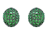 Star K™ Oval Puffed Earrings with Simulated Emerald style: 304275