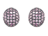 Original Star K Oval Puffed Earrings with Lab Created Pink Sapphire