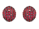 Original Star K Oval Puffed Earrings with Lab Created Ruby