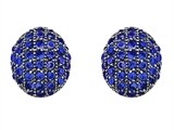 Original Star K Oval Puffed Earrings with Lab Created Sapphire