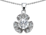 Original Star K Flower Pendant With Round 6mm Genuine White Topaz