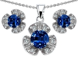 Original Star K™ Created Sapphire Flower Pendant With Matching Earrings style: 304306