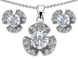 Original Star K™ Genuine White Topaz Flower Pendant With Matching Earrings style: 304307