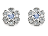 Original Star K Flower Earrings With Round Simulated Aquamarine