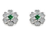 Original Star K™ Flower Earrings With Round Simulated Emerald