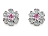 Original Star K Flower Earrings With Round Created Pink Sapphire