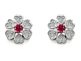 Original Star K Flower Earrings With Round Lab Created Ruby