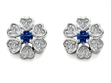 Original Star K™ Flower Earrings With Round Lab Created Sapphire