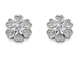 Original Star K Flower Earrings With Round Genuine White Topaz