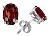 Original Star K Classic Oval 7x5mm Earring Studs with Genuine Garnet