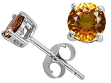 Original Star K Classic Round 6mm Earring Studs with Genuine Citrine