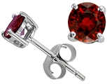 Original Star K Classic Round 6mm Earring Studs with Genuine Garnet