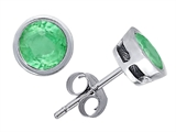 Original Star K Classic Round Bezel Set Earring Studs with Genuine Emerald