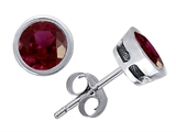 Original Star K™ Classic Round Bezel Set Earring Studs with Genuine 5mm Ruby