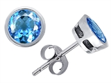 Original Star K Classic Round 6mm Bezel Set Earring Studs with Genuine Blue Topaz