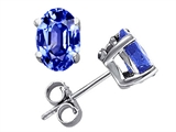Original Star K Grade Genuine 6x4mm Oval Tanzanite Earring Studs