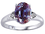 Tommaso Design Oval 9x7mm Simulated Alexandrite And Genuine Diamond Ring