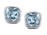 Original Star K Classic Cushion Checker Board Cut 6mm Simulated Aquamarine Earring Studs