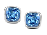 Original Star K Classic Cushion Checker Board Cut 6mm Genuine Blue Topaz Earring Studs