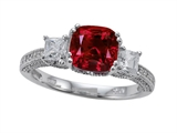 Zoe R™ Engagement Ring With 14 Genuine Diamonds And 7mm Cushion Cut Created Ruby By Zoe R