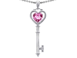 Tommaso Design™ Key to my Heart Love Key Pendant with Created Heart Shape Pink Sapphire and Genuine Diamonds