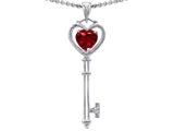 Tommaso Design Key to my Heart Love Key Pendant with Created Heart Shape Ruby and Genuine Diamonds