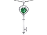 Tommaso Design™ Key to my Heart Love Key Pendant with Simulated Heart Shape Emerald and Genuine Diamonds