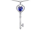 Tommaso Design™ Key to my Heart Love Key Pendant with Created Heart Shape Sapphire and Genuine Diamonds