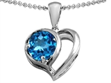 Star K™ Heart Shape Pendant Necklace With Round 7mm Simulated Blue Topaz style: 304435