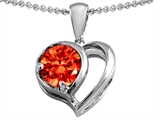 Original Star K Heart Shape Pendant With Round 7mm Simulated Mexican Fire Opal