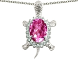 Original Star K Good Luck Turtle Pendant With Oval 12x10mm Created Pink Sapphire