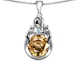 Original Star K™ Large Loving Mother With Twins Children Pendant With Round Simulated Imperial Yellow Topaz