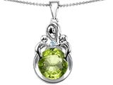 Original Star K™ Large Loving Mother With Twins Children Pendant With Round 10mm Simulated Peridot