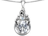 Original Star K Large Loving Mother With Children Pendant With Round 10mm Genuine White Topaz