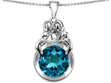 Original Star K™ Large Loving Mother And Family Pendant With Round 10mm Simulated Blue Topaz