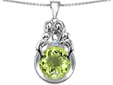 Star K™ Large Loving Mother And Family Pendant Necklace With Round 10mm Simulated Peridot and Cubic Zirconia style: 304482