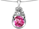 Star K™ Large Loving Mother And Family Pendant Necklace With Round 10mm Created Pink Sapphire style: 304483