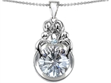 Star K™ Large Loving Mother And Family Pendant Necklace With Round 10mm Genuine White Topaz style: 304487