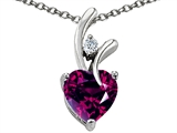Original Star K Genuine Heart Shaped 8mm Rhodolite Pendant