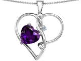 Original Star K Large 10mm Heart Shaped Simulated Amethyst Knotted Heart Pendant