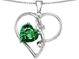 Original Star K Large 10mm Heart Shaped Simulated Emerald Knotted Pendant