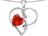 Original Star K™ Large 10mm Heart Shaped Simulated Orange Mexican Fire Opal Knotted Heart Pendant