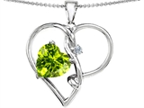 Star K™ Large 10mm Heart Shaped Simulated Peridot Knotted Heart Pendant Necklace style: 304498
