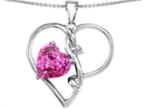 Original Star K Large 10mm Heart Shaped Created Pink Sapphire Knotted Heart Pendant