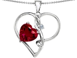Original Star K Large 10mm Heart Shaped Created Ruby Knotted Heart Pendant